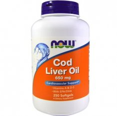 Cod Liver Oil NOW (250 капсул) масло печени трески
