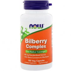 Bilberry Complex NOW (100 капсул) бета-каротин и экстракт черники