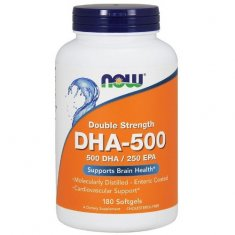 DHA-500 Double Strength NOW (180 капсул) докозагексаеновая кислота
