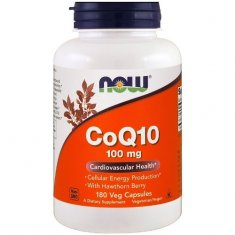 CoQ10 with Hawthorn Berry NOW (180 капсул) коэнзим Q10 и боярышник