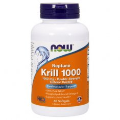 Krill 1000 Double Strength NOW (60 капсул) масло криля